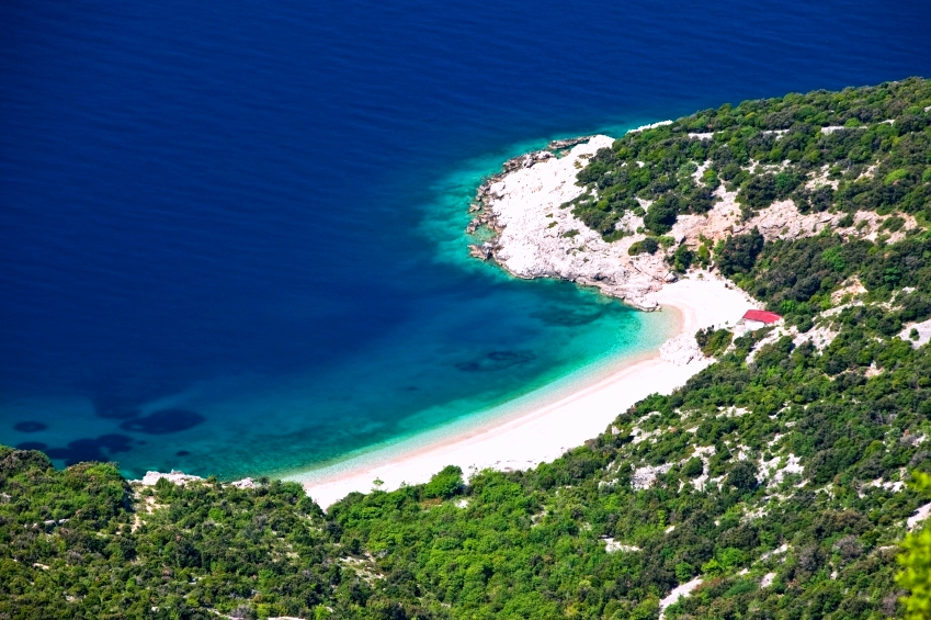 Idyllic beach Lubenice on island Cres, Croatia, Europe.